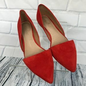 Madewell Lydia Suede Thai Chili Pointy Toe Flats 9